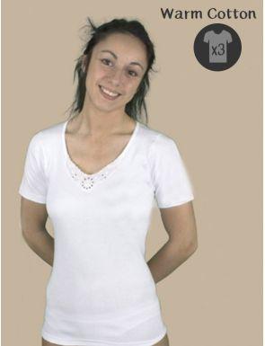 Pack de 3 camisetas calidas bordado en cuello