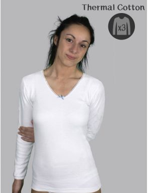 Pack de 3 camisetas algodón Térmico manga larga
