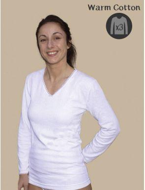 Pack de 3 camisetas algodón calido manga larga Lacotex