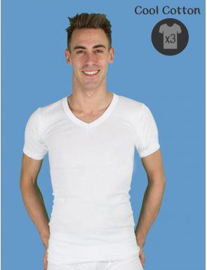 Pack de 3 camisetas hombre cuello pico de algodón