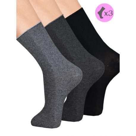 Calcetines algodón cálido sin puño x3