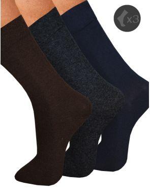 Pack x3 Calcetines hombre algodón color