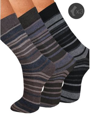 Pack x3 Calcetines hombre a rayas con puño