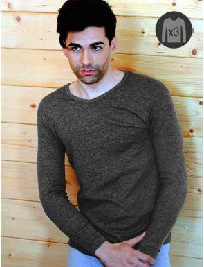 """Pack x3 Camisetas Hombre M/L Cálidas """"V"""""""