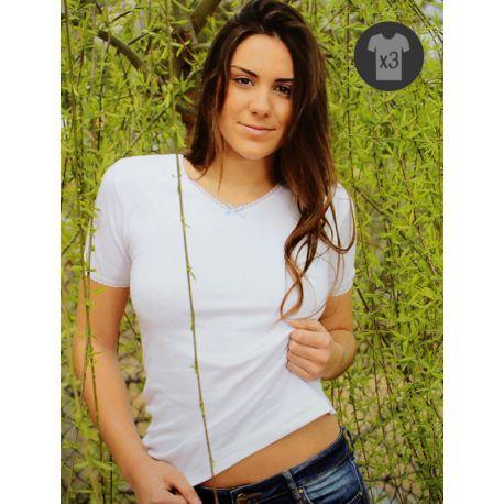 Pack x3 Camisetas Mujer M/C Afelpadas