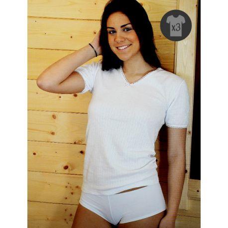 Pack x3 Camisetas Mujer M/C Cálidas