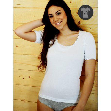 Pack x3 Camisetas Mujer M/C Cálidas Bordado