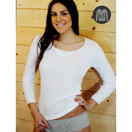 Pack x3 Camisetas Mujer M/L Cálidas Bordado