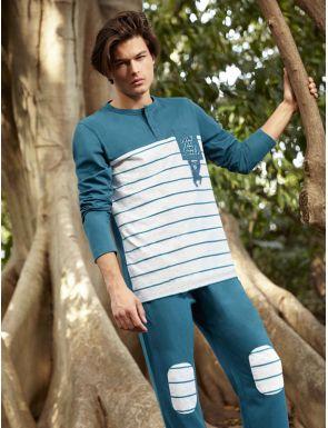 Pijama hombre de algodón a rayas