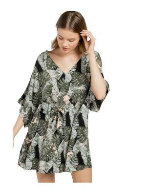 Vestido playa Gisela estampado hojas