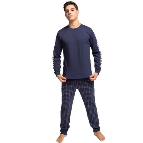 Pijama hombre de invierno azul marino
