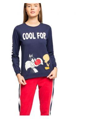 Pijama largo algodón Sylvester para mujer