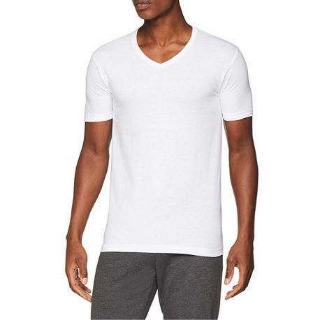 Camiseta de Algodón Manga Corta Cuello Pico Hombre