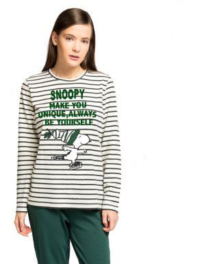 Pijama largo rayas Snoopy de Gisela