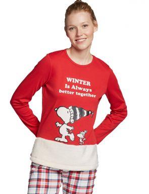 Pijama largo Snoopy en tejido de peluche mujer