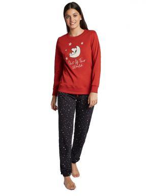 Pijama de punto largo de Snoopy de mujer