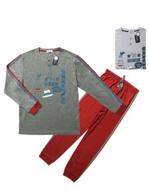 Pijama de la marca Tress en rojo gris/azul gris, tallas M/XXL