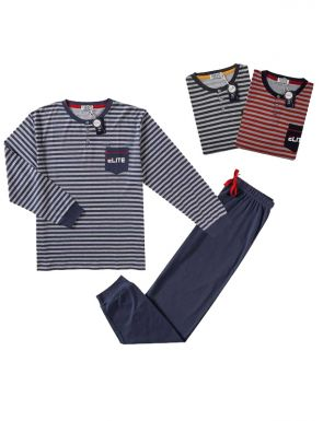 Pijama de la marca Tress en azul/rojo/gris, tallas M/XXL