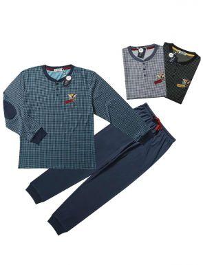 Pijama de la marca Tress con cuadrícula en azul/verde/negro, tallas M/XXL