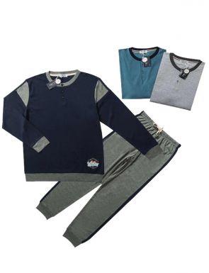 Pijama de la marca Tress en marino/turquesa/gris, tallas M/XXL