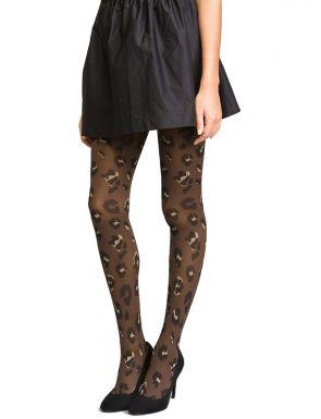 Panti negro para mujer estampado de leopardo de terciopelo